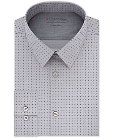 Calvin Klein X Men's Extra-Slim Fit Temperature Regulating Stretch Gray Print Dress Shirt