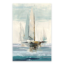 Quiet Boats I Hand Embellished Canvas