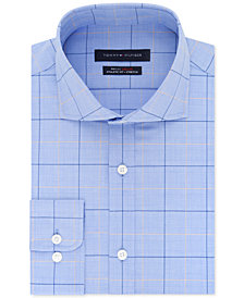 Tommy Hilfiger Men's Fitted TH Flex Collar Performance Stretch Check Dress Shirt