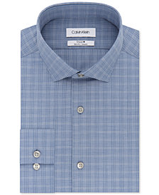 Calvin Klein Men's STEEL Slim-Fit Non-Iron Performance Stretch Blue Plaid Dress Shirt