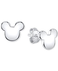 Disney's Mickey Mouse Stud Earrings in Sterling Silver for Unwritten