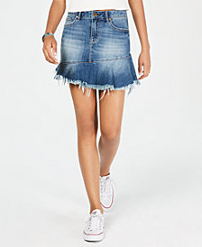 American Rag Juniors' Ruffled Denim Mini Skirt, Created for Macy's