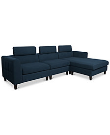 Madison 3-Pc. Sectional Chaise Sofa Set, Quick Ship