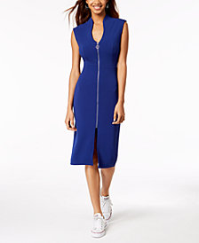Almost Famous Juniors' Zip-Front Midi Dress
