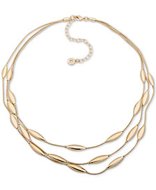 "Anne Klein Gold-Tone Oval Triple-Row Collar Necklace, 16"" + 3"" extender"