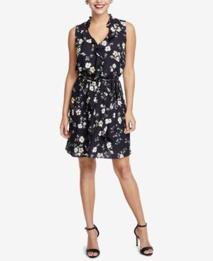 Brit Sleeveless Floral Georgette Dress, Plus Size in Black