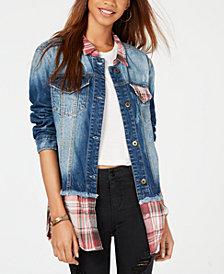 American Rag Juniors' Plaid & Denim Jacket, Created for Macy's
