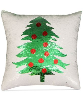"""Holiday Tree Sequin 18"""" Square Decorative Pillow"""