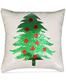 "Hallmart Collectibles Holiday Tree Sequin 18"" Square Decorative Pillow"