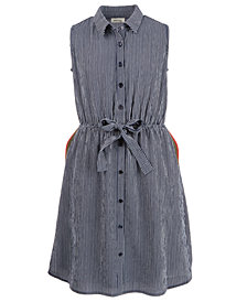 Monteau Big Girls Striped Sleeveless Shirtdress