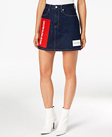 Calvin Klein Jeans Cotton Logo Mini Skirt