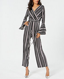 Thalia Sodi Striped Bell-Sleeve Jumpsuit, Created for Macy's