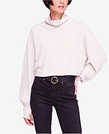 Free People Waffle-Knit Cropped Turtleneck