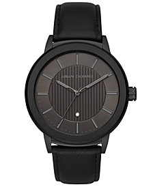 A|X Armani Exchange Men's Maddox Genuine Diamond-Accent Black Leather Strap Watch 46mm