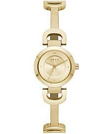 DKNY Women's City Link Gold-Tone Stainless Steel Half-Bangle Bracelet Watch 24mm, Created for Macy's