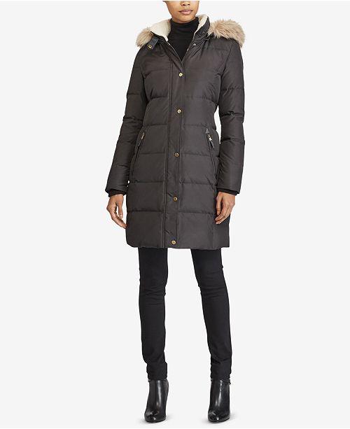 aacb6ed85286 Lauren Ralph Lauren Faux-Fur Down Coat   Reviews - Coats - Women ...