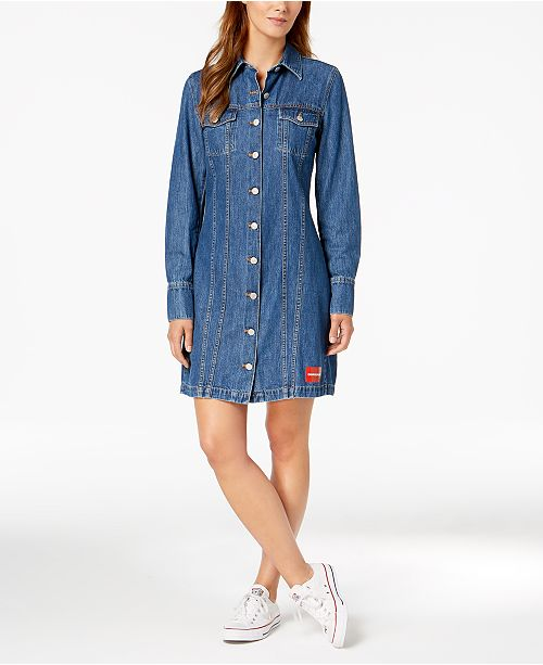 Calvin Long Sleeve Klein Dresses Dress Jeans Denim Cotton TkOwZuiPX