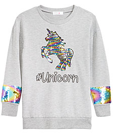 Beautees Big Girls Unicorn Reversible Sequin Sweatshirt