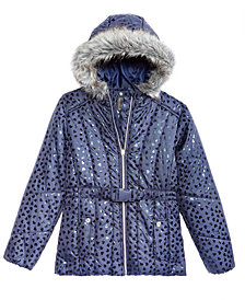 S. Rothschild Big Girls Hooded Metallic-Print Puffer Jacket with Faux-Fur Trim