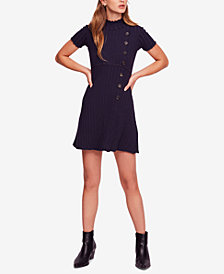 Free People Lottie Ribbed Mock-Neck Mini Dress