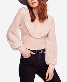 Free People Macaroon Ruffled-Neck Sweater