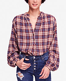 Free People Northern Bound Plaid Blouse