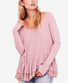 Free People Tangerine Tiered Thumbhole Top