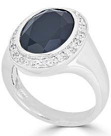Onyx (16 x 12mm) & Diamond (1/10 ct. t.w.) Ring in Sterling Silver