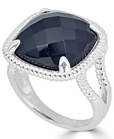 Onyx (16mm) Twist Frame Statement Ring in Sterling Silver