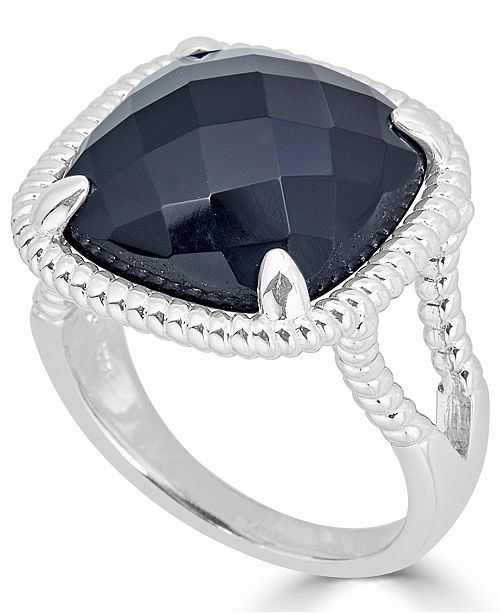 Macy's Onyx (16mm) Twist Frame Statement Ring in Sterling Silver