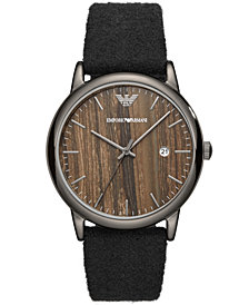 Emporio Armani Men's Black Fabric Felt Strap Watch 43mm