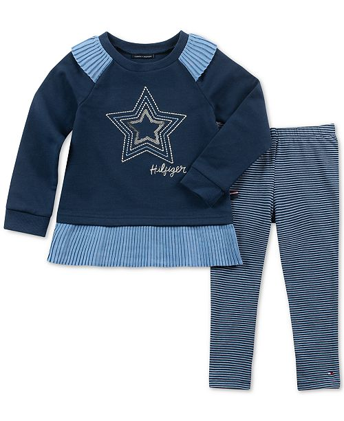 d17a7099b Tommy Hilfiger Infant Baby Girl 2-Pc. Star Tunic & Striped Leggings Set