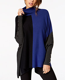 Alfani Petite Turtleneck Colorblock Poncho Sweater, Created for Macy's
