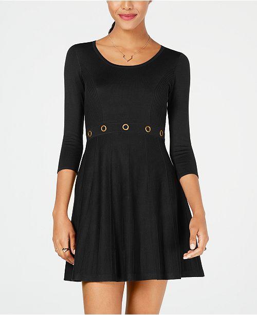 8b9c3ccbbb581 BCX Juniors  Grommet-Waist Fit   Flare Sweater Dress   Reviews ...