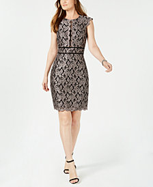 Nightway Metallic Lace Sheath Dress