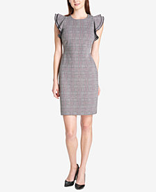 Tommy Hilfiger Plaid Flutter-Sleeve Sheath Dress