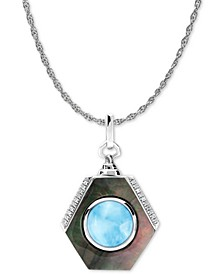 "Multi-Stone Shadow 21"" Pendant Necklace in Sterling Silver"