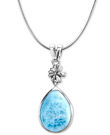 "Marahlago Larimar & Flower 21"" Pendant Necklace in Sterling Silver"