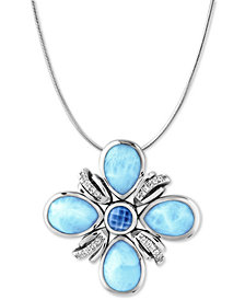 "Marahlago Multi-Stone Flower 21"" Pendant Necklace in Sterling Silver"