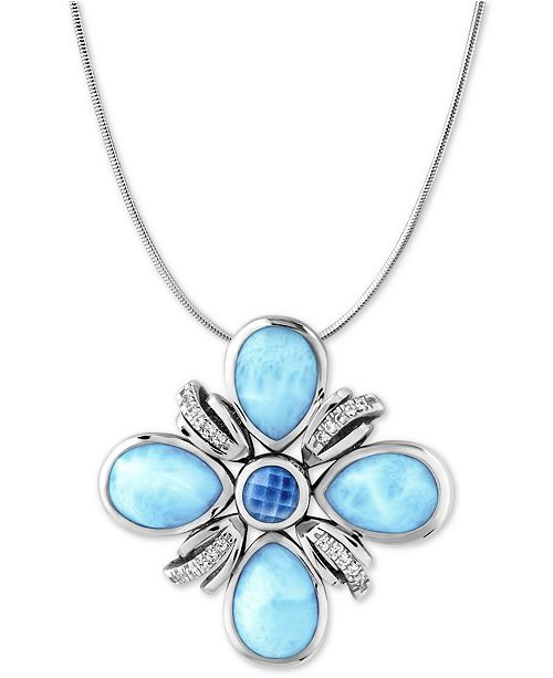 Marahlago multi stone flower 21 pendant necklace in sterling silver main image aloadofball Choice Image