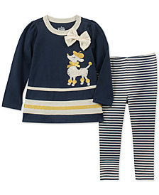 Kids Headquarters Baby Girls 2-Pc. Poodle Tunic & Striped Leggings Set