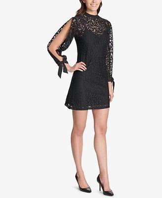 Kensie Lace Split Sleeve Shift Dress Dresses Women Macy S
