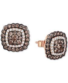 Chocolatier® Diamond Halo Stud Earrings (1-1/8 ct. t.w.) in 14k Rose Gold