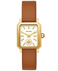 Tory Burch Women's Robinson Luggage Leather Roller Bar Strap Watch 27x29mm
