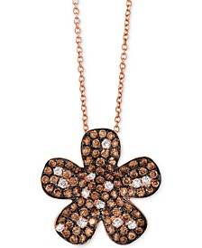 """Red Carpet® Diamond Flower 18"""" Pendant Necklace (1-3/8 ct. t.w.) in 14k Rose Gold"""