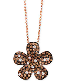 "Le Vian Red Carpet® Diamond Flower 18"" Pendant Necklace (1-3/8 ct. t.w.) in 14k Rose Gold"