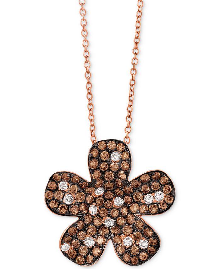 "Le Vian - Diamond Flower 18"" Pendant Necklace (1-3/8 ct. t.w.) in 14k Rose Gold"