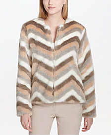 Calvin Klein Striped Faux-Fur Jacket