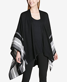 Calvin Klein Draped Poncho Shawl Sweater