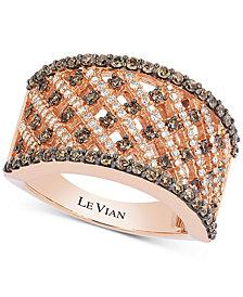 Le Vian Chocolatier® Diamond Crisscross Openwork Wide Ring (1 ct. t.w.) in 14k Rose Gold